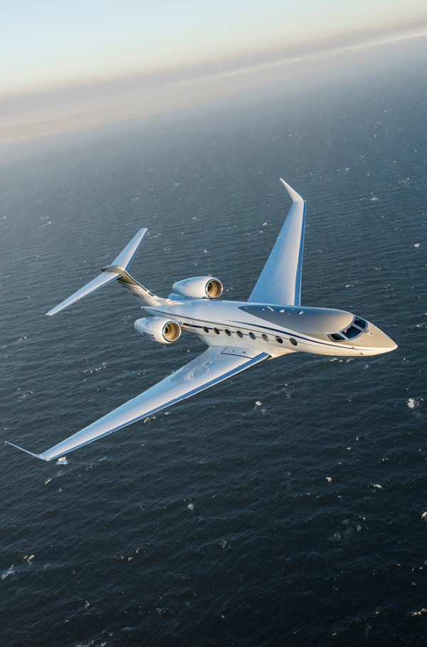 Gulfstream jet flying