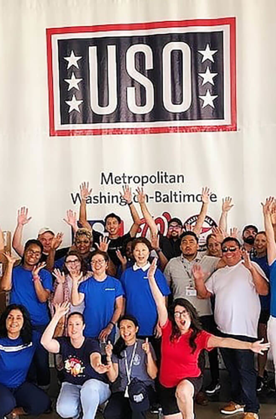 group of people at a uso event