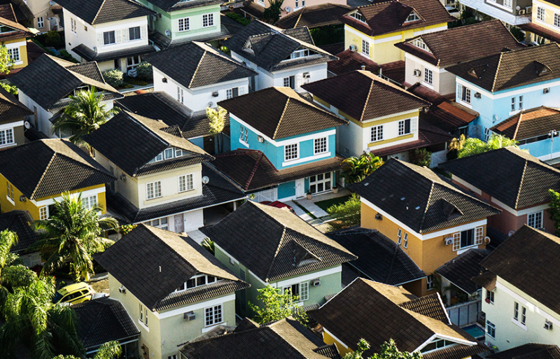 colorful houses from an aerial view