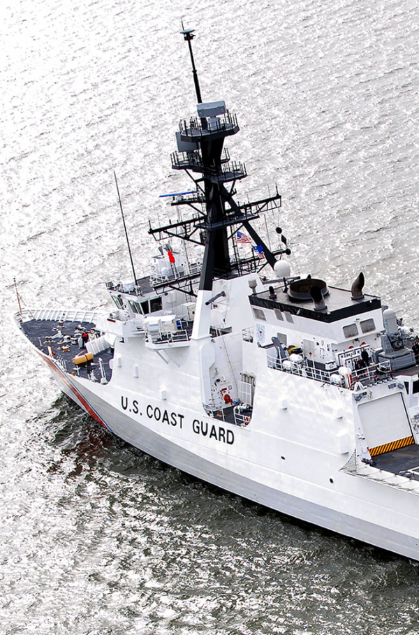 US Coast Guard Ship on water