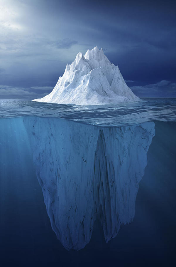 an iceberg in the water