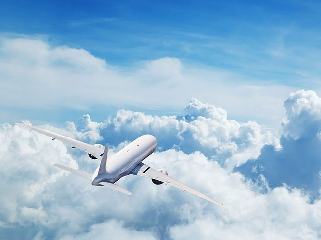 airplane in the clouds