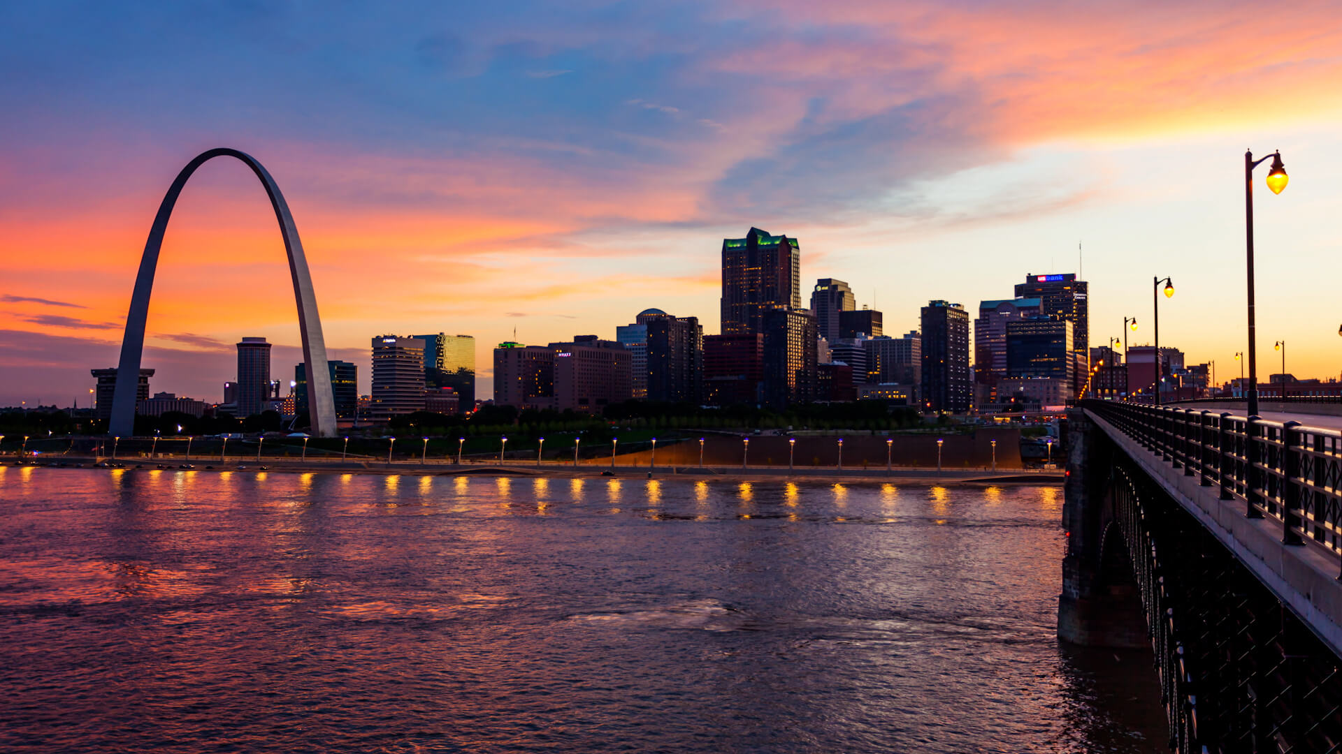 St Louis skyline over the river at sunset