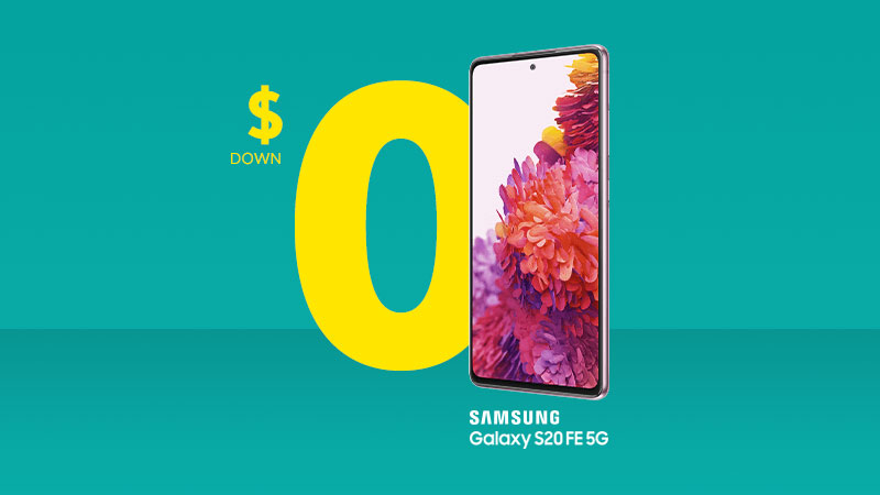 Get the Samsung S20 FE 5G for $0 down and 0% interest