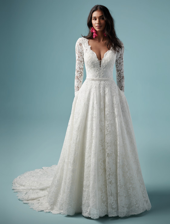 3f7c87b4339f Wedding dress with stunning lace top with sleeves open back