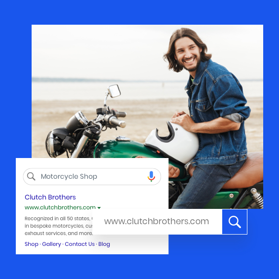 Image of a business listing with a man on a motorcycle