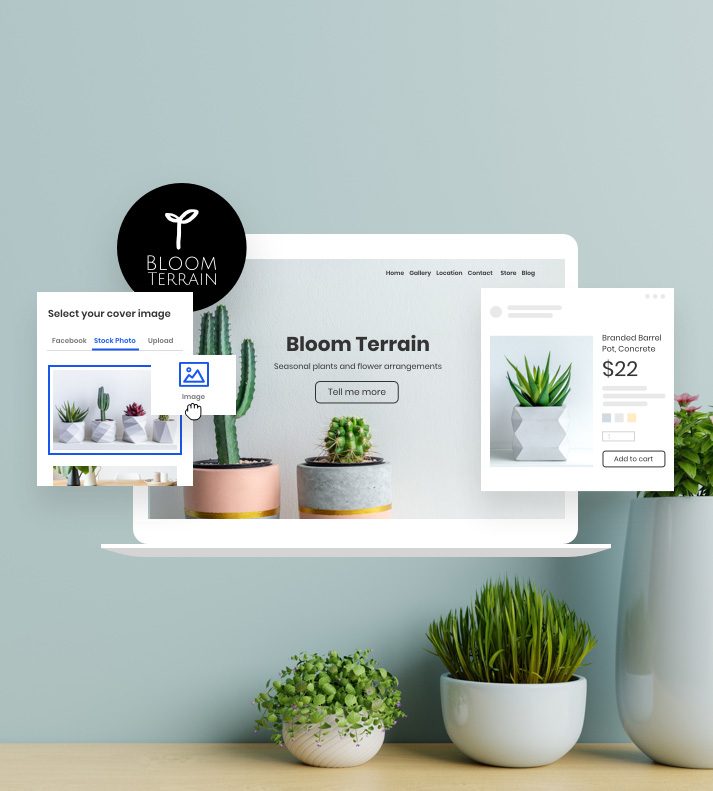 laptop display of a website with plants