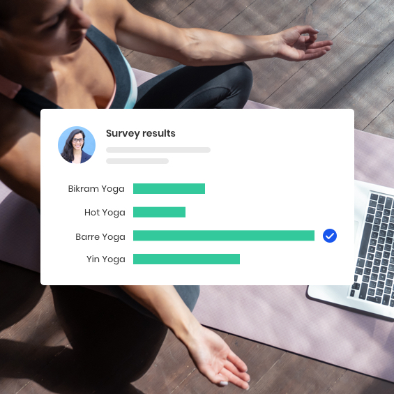Survey results graphic with person practicing yoga in background.