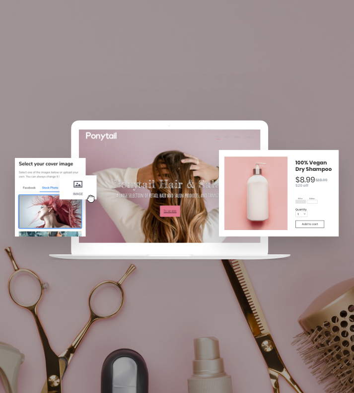 Example of a Beauty website created in the Website Builder