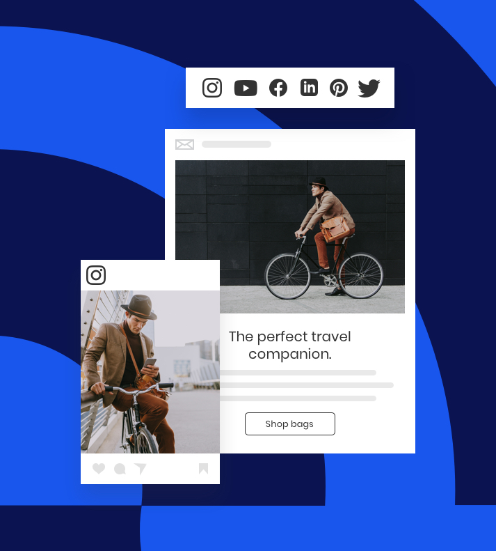examples of an Instagram image and an email