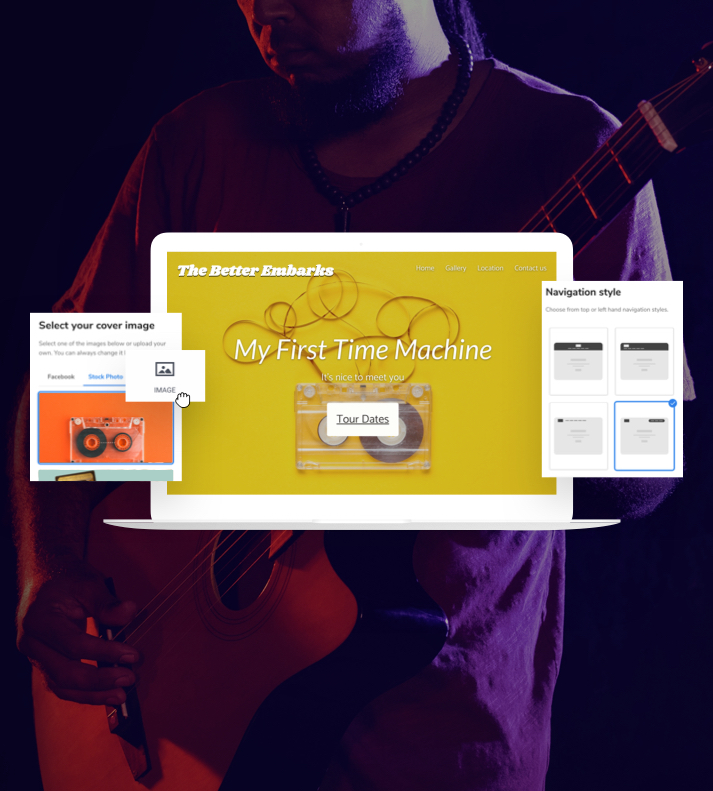 Image of a music website using the Website Builder