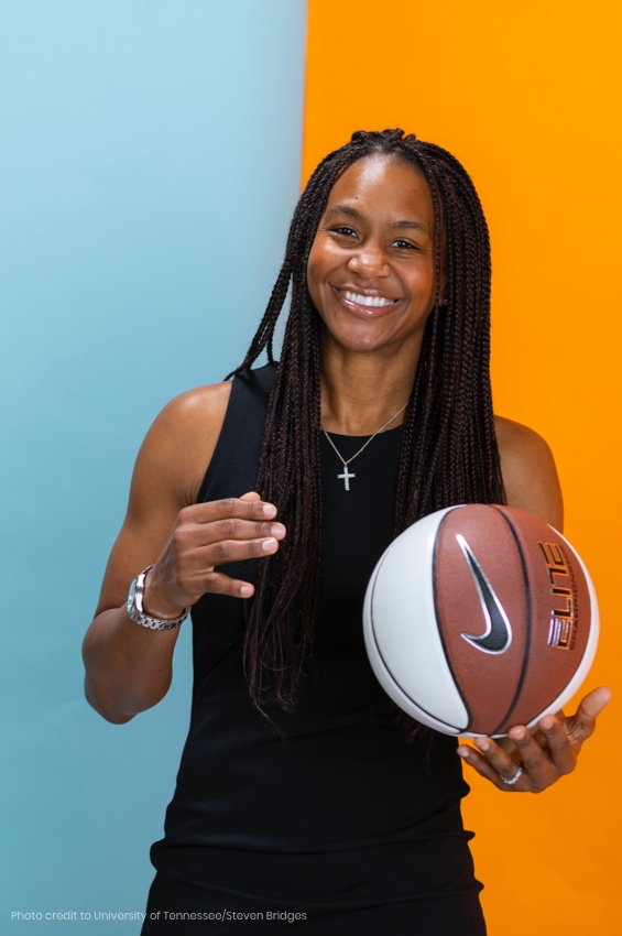 Image of Tamika Catchings holding a basketball