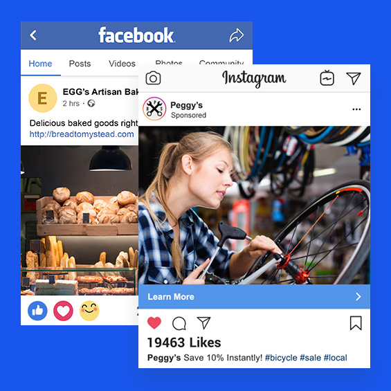 Example online ads for Facebook and Instagram