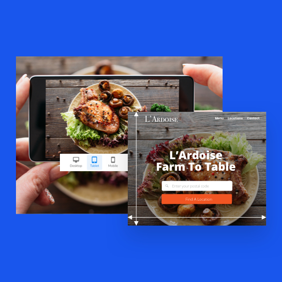 Image show a responsive defined image of a restaurant website