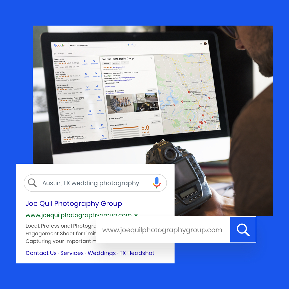 Image of an online marketing search listing showcasing a photography website