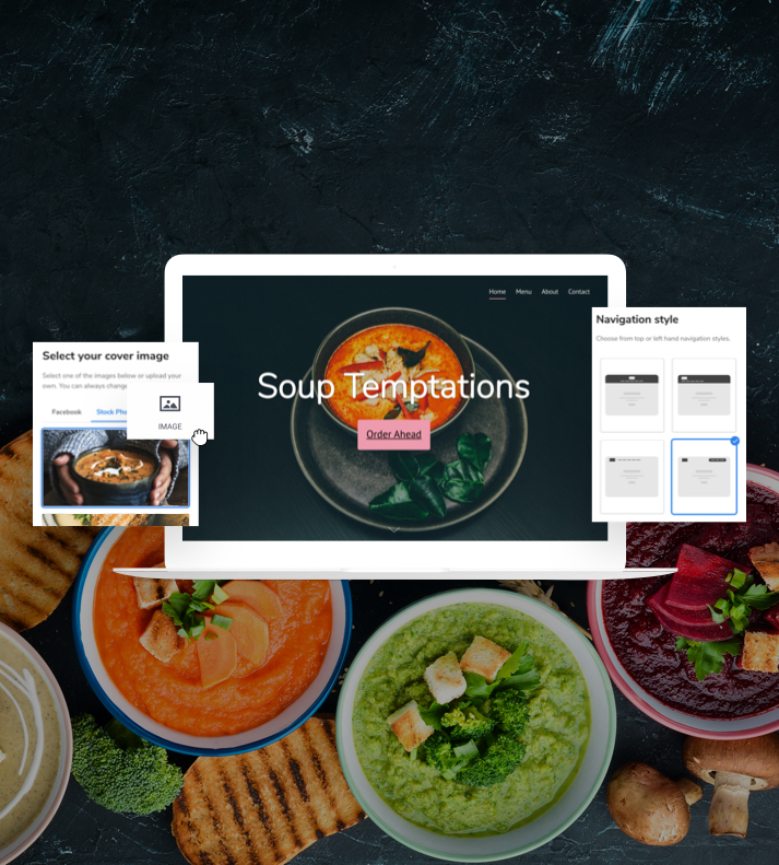 Image of a Restaurant website using the Website Builder