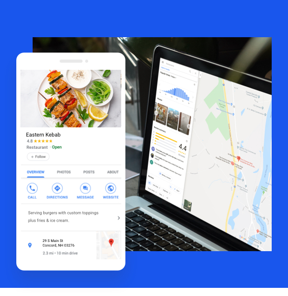 Restaurant listing on a website with a mobile listing