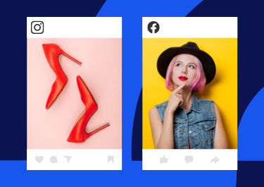 Facebook and Instagram ad showing a pair of red shoes and a girl thinking