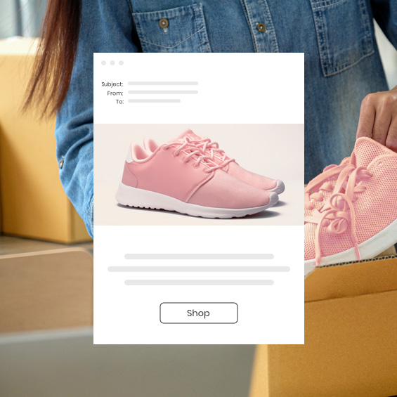 Person selling sneakers with an example of Constant Contact Ecommerce tools.