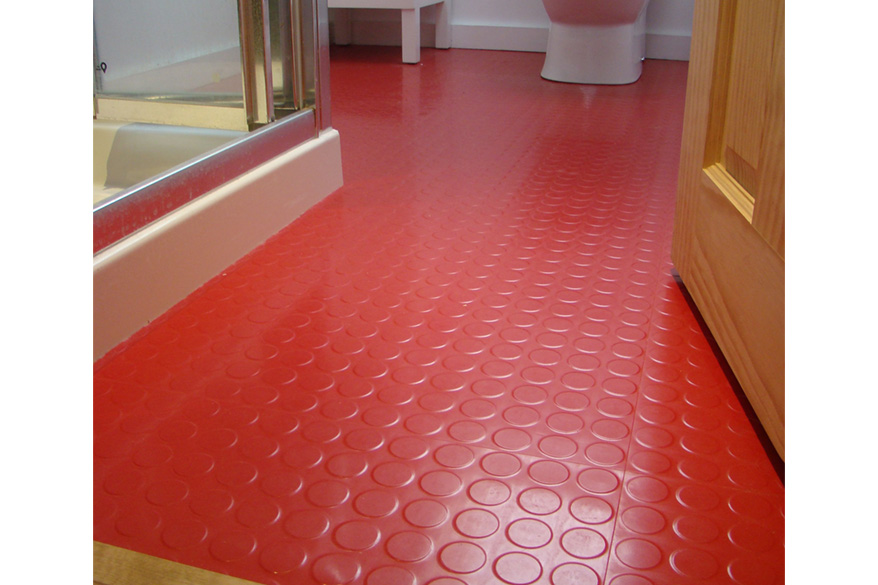 Red Rubber Bathroom Floor