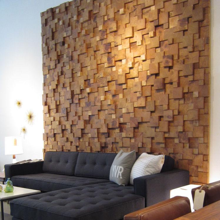 Wood Feature Accent Wall Ideas Using Flooring: Cedar Feature Wall