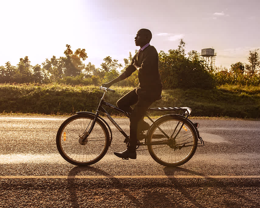 World Bicycle Relief builds and distributes bicycles to students, healthcare workers, and entrepreneurs to help people conquer the challenge of distance, achieve independence and thrive. Near Kisumu, Kenya.