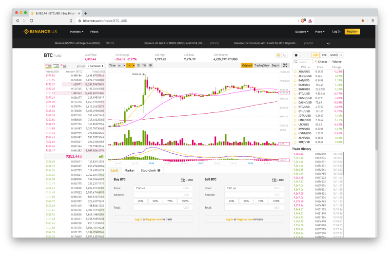 Picture of the Binance US website