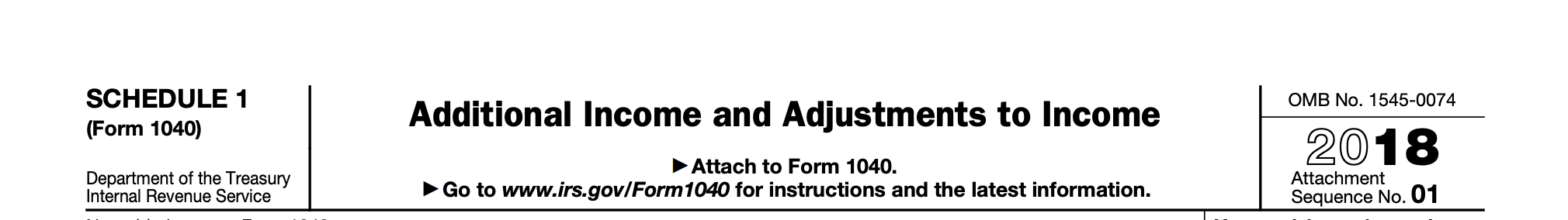 Excerpt of the top of the Form 1040 Schedule 1