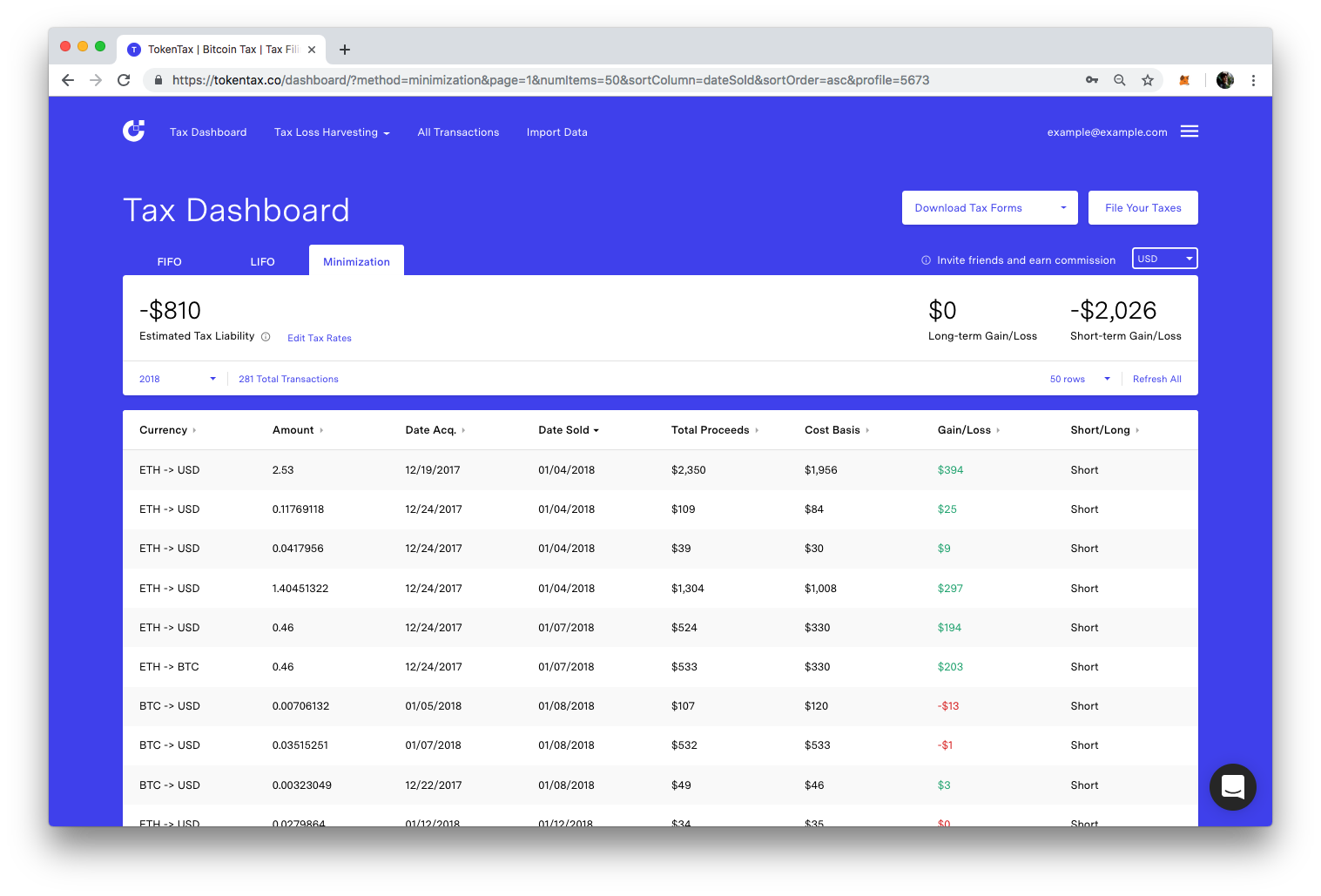 The TokenTax crypto tax dashboard
