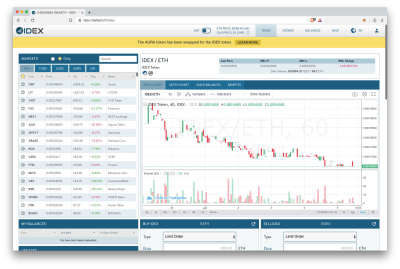 IDEX crypto exchange