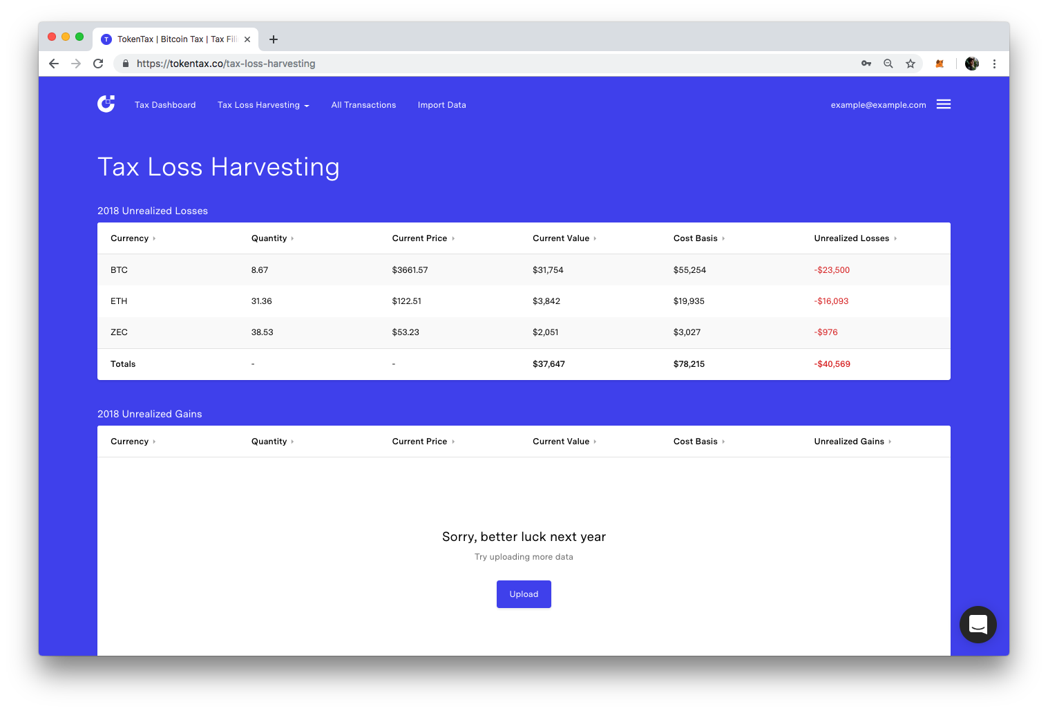 The TokenTax tax loss harvesting dashboard