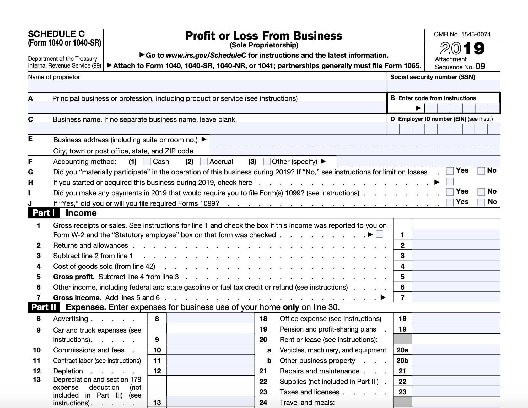 Excerpt of the Form 1040 Schedule C