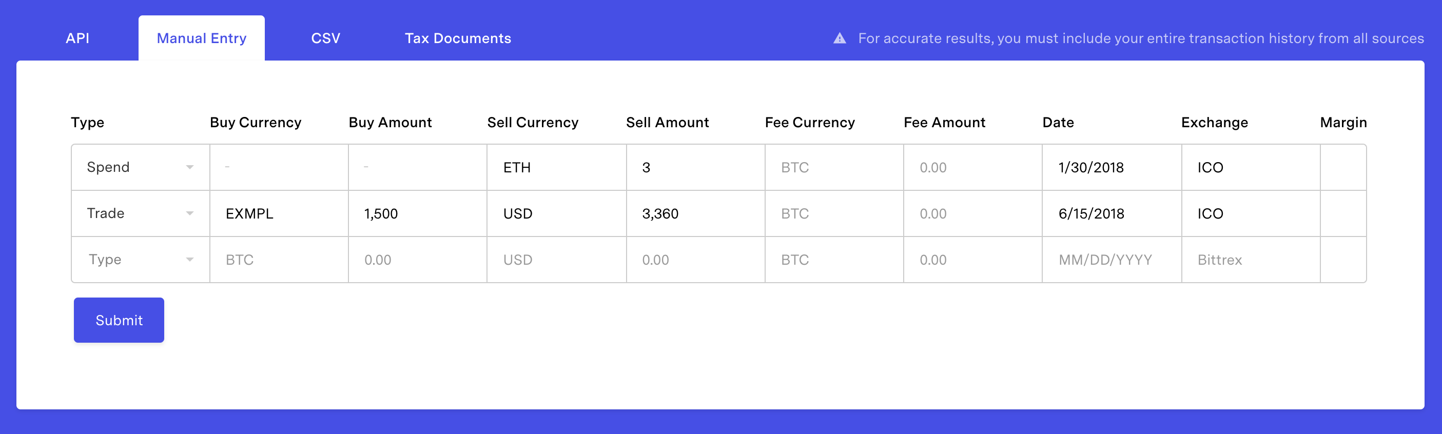 Example of entering an ICO transaction with separate dates