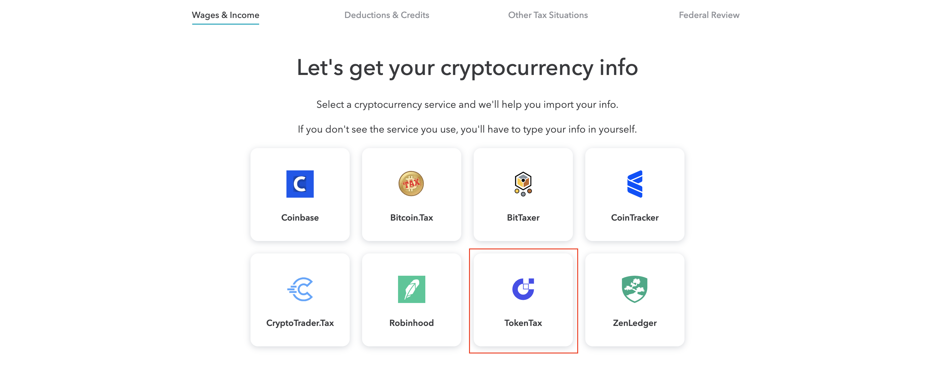 The TokenTax integration on TurboTax