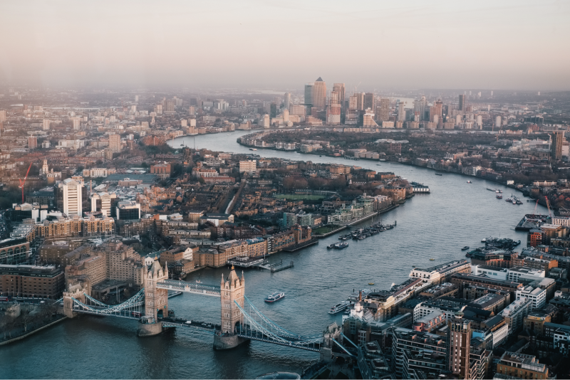 An aerial photo of London