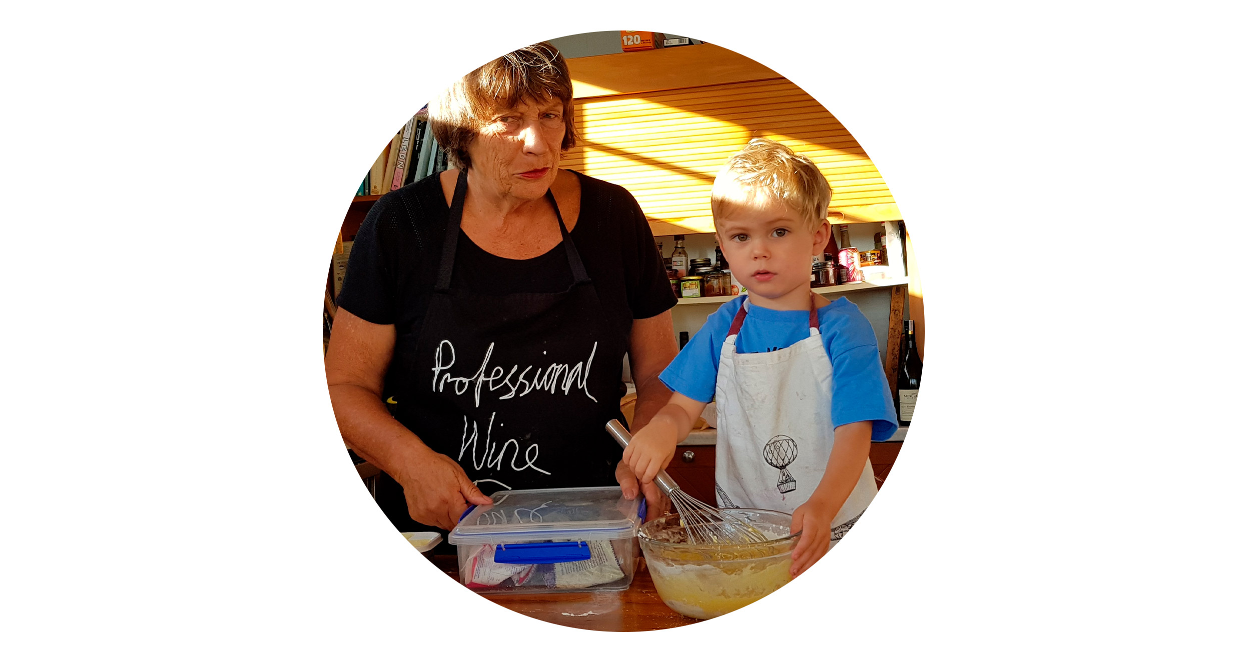 Lauraine Jacobs with helper and grandson, Teddy