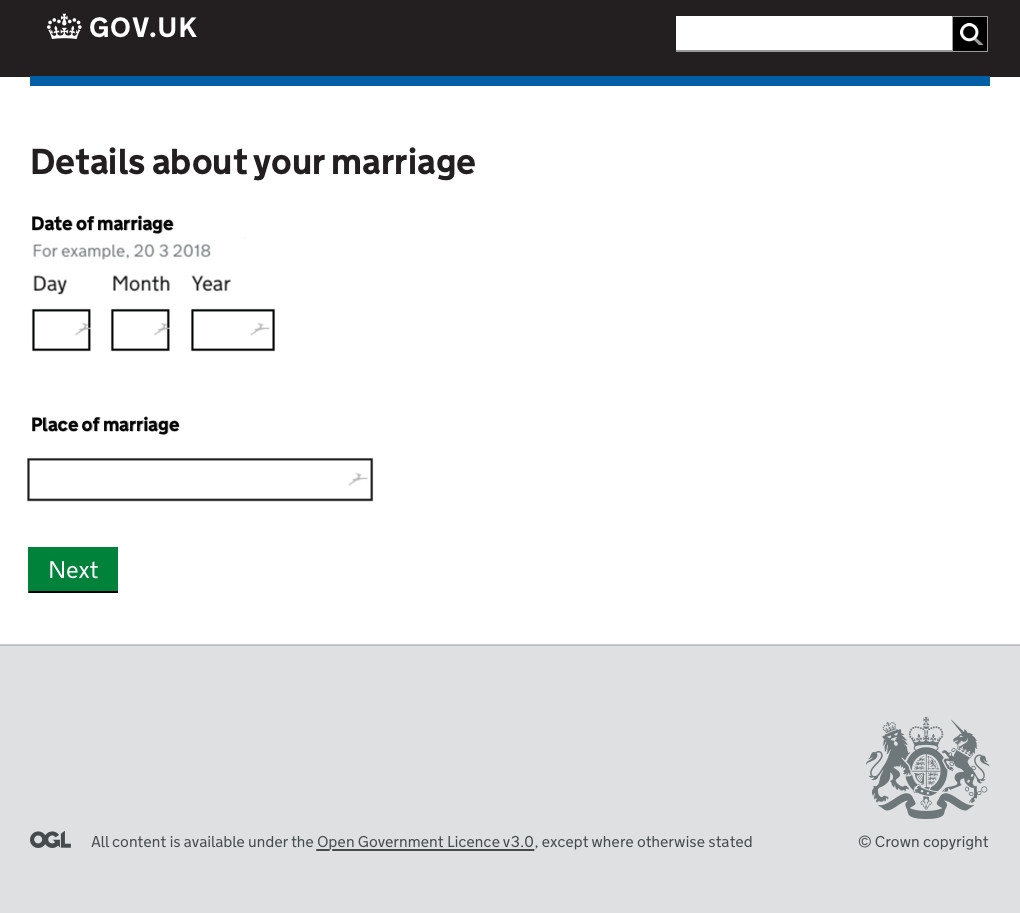 Screenshot of a GOV.UK styled webform as part of the Certificate of No Impediment online application