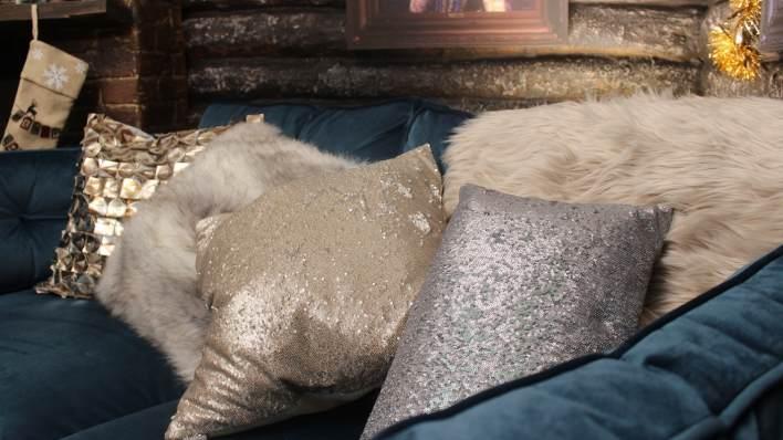 Sofa and cushions in Kem's cabin