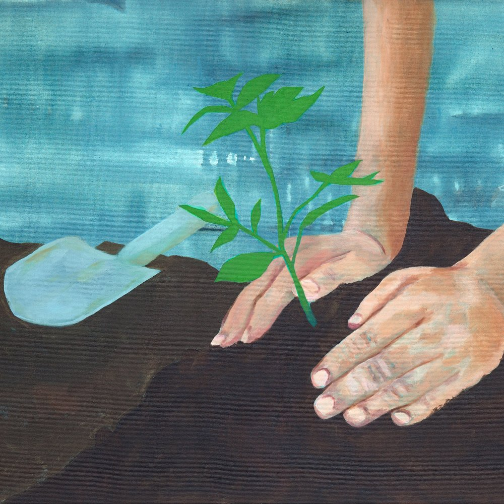 Painting of the planting of a plant in soil by a person kneeing on the ground.