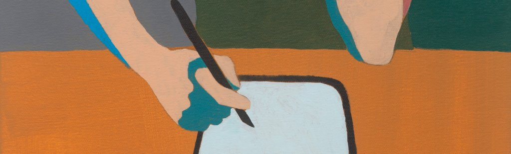 Closeup of a hand drawing with a stylus on a tablet