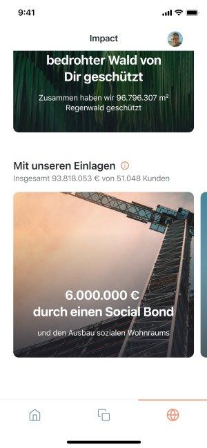App Screenshot der nachhaltig investierten Einlagen