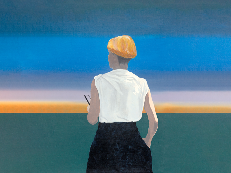 Painting of a woman with mobile phone
