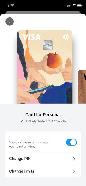 App screenshot of card settings