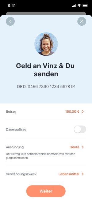 Ein Screenshot – Geld an ein gemeinsames Konto überweisen