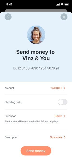 A Screen showing money transfer to a shared account