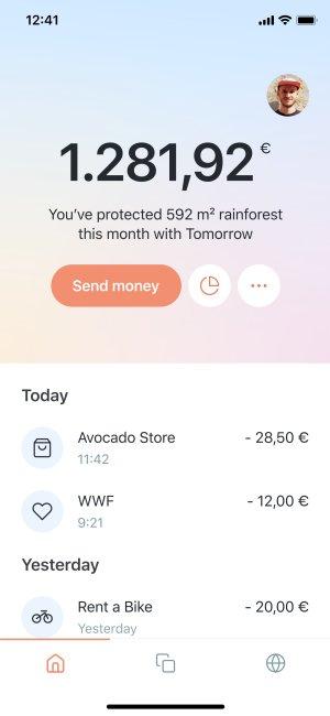 Homescreen of the Tomorrow app