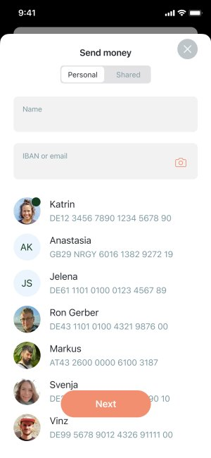 App screenshot of quick selection of money transfer contacts