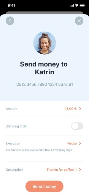 App screenshot of money transfer settings