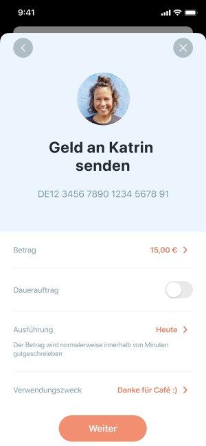 App Screenshot mit Überweisungs-Einstellungen