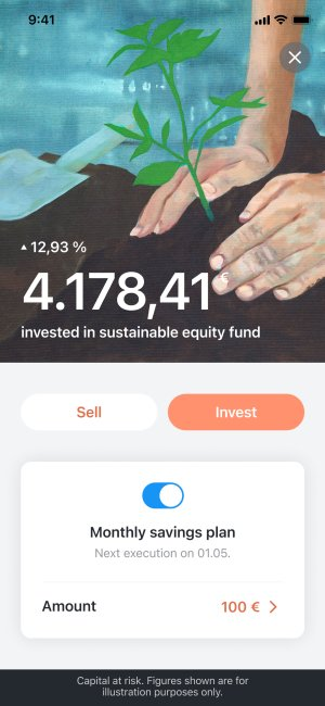 Investing detail view in the Tomorrow app